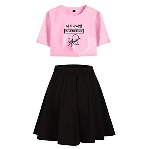 JUSTTIME druk T-shirt Crop Top en Rok Set Crop Top korte mouwen T-shirt 2-delige set voor dames Sportswear X-Large 1 roze zwart