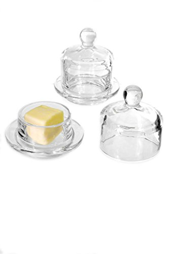"Set of 2 Clear Round Glass 3"" 2Pc Small Butter Dish With Covered Dome"