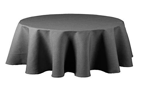 Maltex24 Textil Tischdecke - Leinen Optik - wasserabweisend oval (anthrazit, oval 135x180)