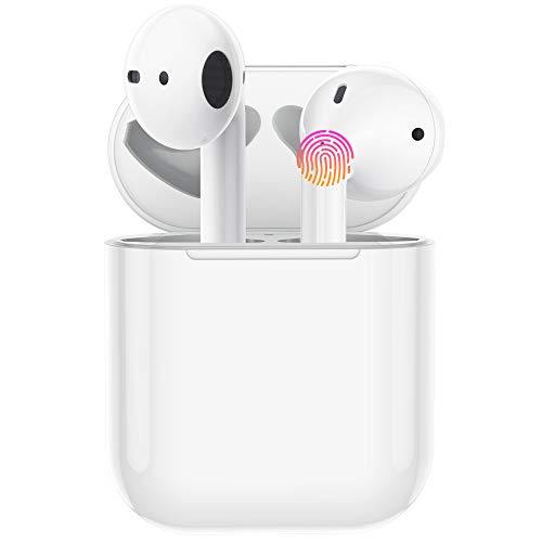 Cuffie Bluetooth per iPhone Accoppiamento Automatico Auricolari Wireless con Microfono Auricolari Stereo in-Ear Hi-Fi Cuffie Touch Control Compatibili con Android Samsung Huawei Xiaomi - Bianco