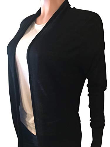 Grace Elements Women's 100% Viscose Lightweight 32' Long Flyaway Cardigan with Straight Hem (Black, Small)
