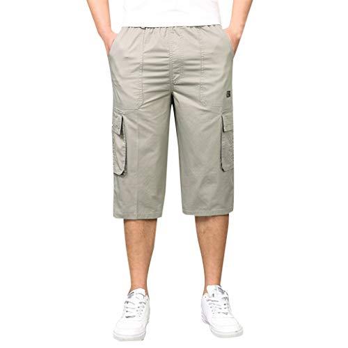 Pantalones Cortos Carga Elegante Hombres Seven-Point Multi-Zip Multi-Pocket Built-In Corded Pantalones Reducción Precio