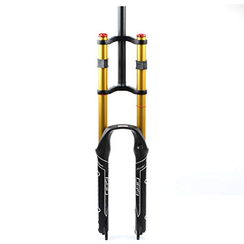 TYYT DH Mountain Bike Suspension Fork MTB 26/27.5/29 Inch, Travel 130mm Double Shoulder Downhill Rappelling Shock Absorber for MTB, XC, AM, FR, DH, EFR (Color : 27 inch)