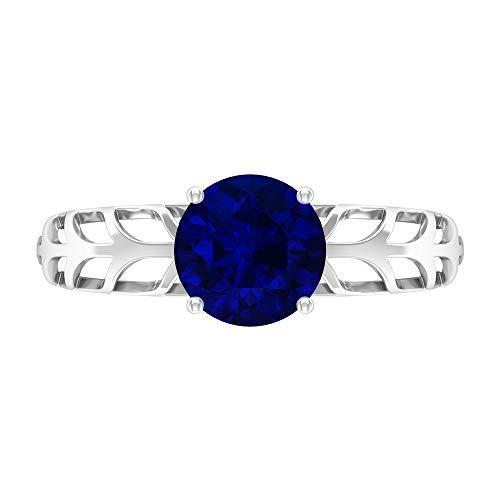 Anillo de compromiso con solitario de zafiro azul de 7 mm, anillo de filigrana de oro macizo, 14K White Gold, Blue Sapphire, Size:US 46