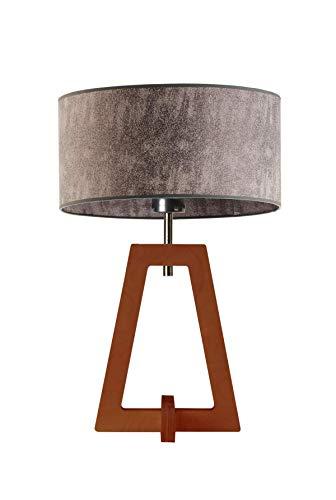 CLIO - Lámpara de mesa con pantalla de lámpara, color gris jaspeado, marco caoba