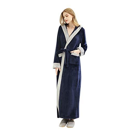 MINIKIMI Unisex badjas voor heren en dames, grote maat, ochtendjas, lange V-hals, fleece, Dunner herfst winter, warm, saunamantel zacht nachtgoed, met zakken en bindgartel