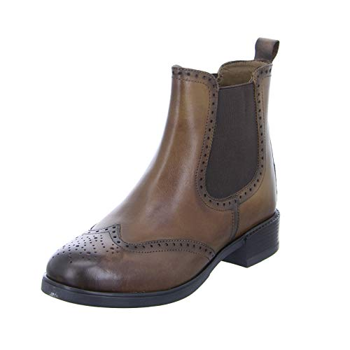 BOXX Damen Stiefelette SERVIA4 Echtleder Blockabsatz Chelsea Boots Braun (Brown) Größe 36 EU