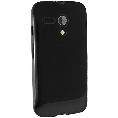igadgitz U2948 Funda Case Cover y Protector de Pantalla Compatible con Motorola Moto G 1 ª Gen XT1032, X1033, XT1039 - Negro