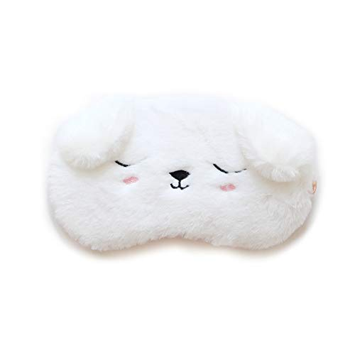 3D Mascherina per Dormire Bambina HOMEWINS Maschera Notturna Occhi Comodo 100% Seta naturale & Peluche Ultra-Soft Regolabile Dormire per il Viaggio Disegno Animato Carino Donna (Cane bianco)