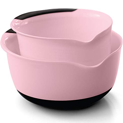 Gorilla Grip Original Mixing Bowls Set of 2 Slip Resistant Bottom Includes 5 Qt and 3 Qt Nested Bowl Dishwasher Safe Grip Handle for Easy Mix Pour Spout Baking and Cooking 2 Piece Set Pink