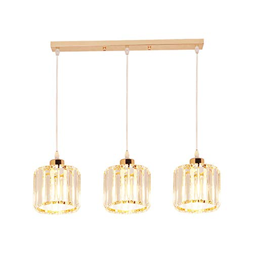 LFsem Araña nórdica simple moderna E27, tira de luz colgante, lámpara de techo de cristal, montaje de luz colgante de metal dorado (Redonda, recta 3 luces)