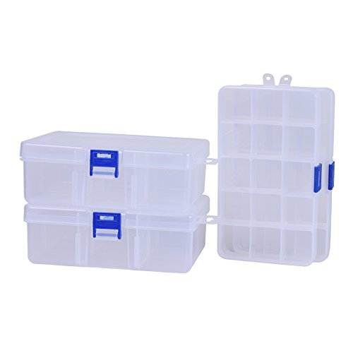 Pack of 4 Plastic Storage Box with Adjustable Dividers for Beads, Jewelry,Tools and Fishing Lures(2pc Organizer Box with 15 Grids & 2pcs Box with 6 Grids)