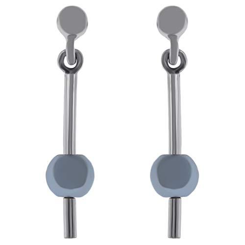 Pendientes de plata 925 rodiada y perla gris de imitación – Mujer
