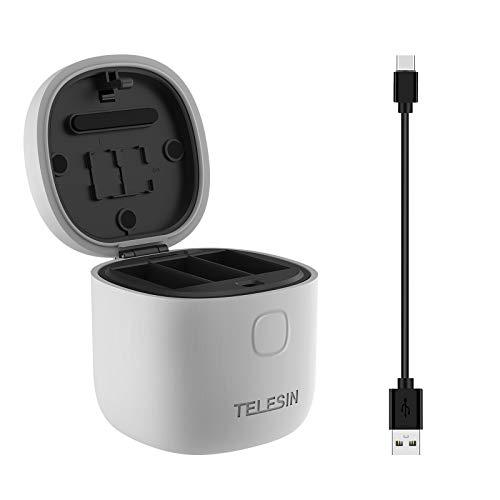 TELESIN Allin Box Batterieladegerät Kompatibel mit GoPro Hero 9 Black, mit 3 Steckplätzen Ladeset TF-Kartenleser Aufbewahrungsladebox für Gopro 9 (Einzelladegerät)