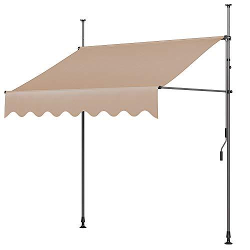 MVPower Tenda da Sole 350 x 120 x 200-300cm Parasole Avvolgibile a Barra Quadra con Gambe, Regolabile in Altezza, per Esterno, Giardino, Balcone Terrazza, Beige