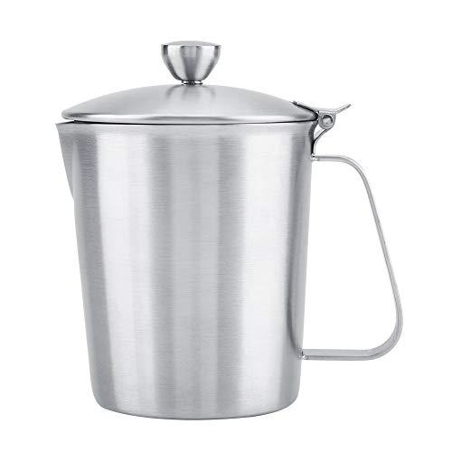 Praktische verspiegelte Edelstahl Milchkannen Kaffeetassen mit extra breitem Griff Bequemer Espresso Becher mit Deckel Rostfeste Becher mit Messskalen auf beiden Seiten (1000ML)