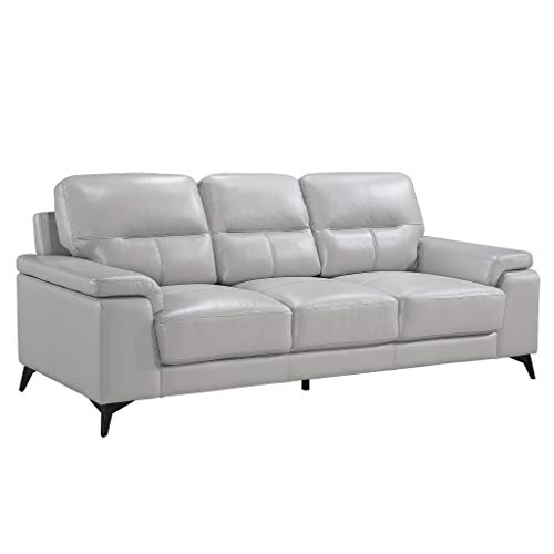 Homelegance 89' Leather Sofa, Silver Gray
