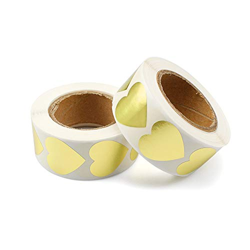 YunBey Gold Herz Aufkleber 1000 Stücke (500 Stück/Rolle) Selbstklebende Herzform Aufkleber Zum Abdichten von Hochzeitseinladungen, DIY Handarbeit, Hausgemachten Speisen Wie Kekse
