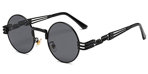 BOZEVON Retro Steampunk Style ispira Rotondi Metal Circolari Occhiali da sole per le Donna e gli Uomo, Nero-Grigio