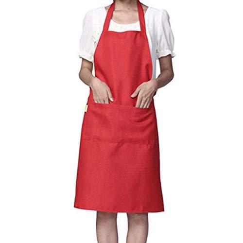 Color sólido del Bolsillo del diseño Simple de Cuello Halter Delantal Poliéster Camarero Panadero Cocineros Completa Babero Delantero