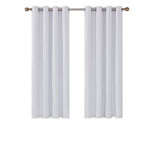 Deconovo Cortinas Dormitorio Moderno Blackout Curtain Suave para Ventanas de Habitación Infantil con Ojales 2 Piezas 132 x 138 cm Gris Blanco