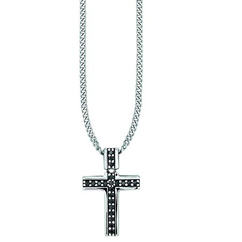 Cai Herren Anhänger mit Kette 925/- Sterling Silber 55cm Glänzend Spinell Silbergrau 0,378ct 132250539-55