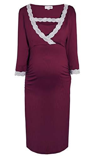 Herzmutter Zwangerschapsnachtjurk - Borstvoedingnachtjurk - Nachtjurk voor lactatie tijdens de zwangerschap - Speels nachtkleding met voedingsfunctie - Light Viscose Jersey – Blauw-grijs-Rood - 2200_2300