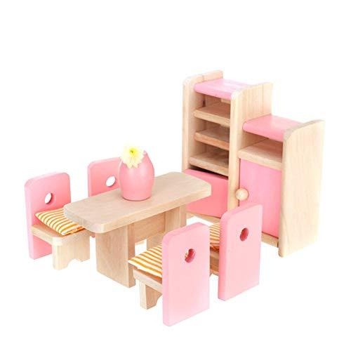 Yisily Dollhouse Comedor de Madera de Muebles de Mesa + Silla + Pantalla + Unidad florero muñecas M