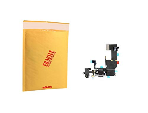 (md0410) Black Audio Jack USB Micro Charging Port Charge Dock Connector Charger mic Flex Ribbon Cable Replacement Part Compatible for iPhone 5C A1456, A1507, A1516, A1529, A1532