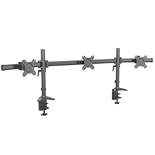 HFTEK Monitor TV Halter Mounts Tischhalterung für 3 Bildschirme von 15 bis 27 Zoll – VESA 75/100 (MP330C-N)