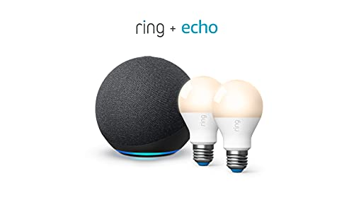 Ring Smart Lighting - A19 Bulb, White (2-pack) bundle with All-new Echo (4th Gen) - Charcoal