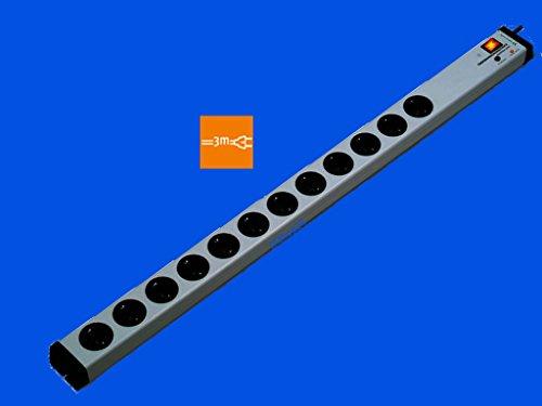 VARIO® LINEA 12-Fach-Steckdosenleiste mit Überspannungsschutz + Netzfilter + Zentral-Hauptschalter | mit 3 m-Zuleitung-Kabel