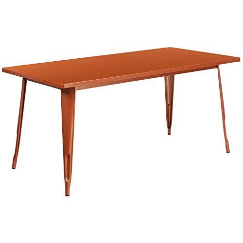 Flash Furniture Commercial Grade 31.5' x 63' Rectangular Copper Metal Indoor-Outdoor Table