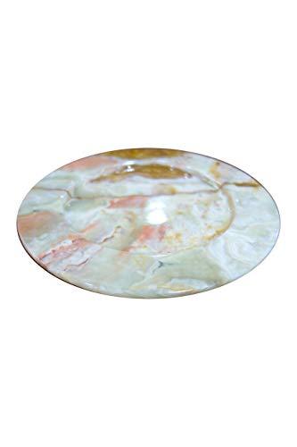 Speiseteller aus Onyx Marmor aus der Verde Dunas (Grün) Kollektion 25cm. Speiseteller ist ein handgemachtes Unikat von Künstlern aus der Onyx Art Manufaktur in Mexiko hergestellt
