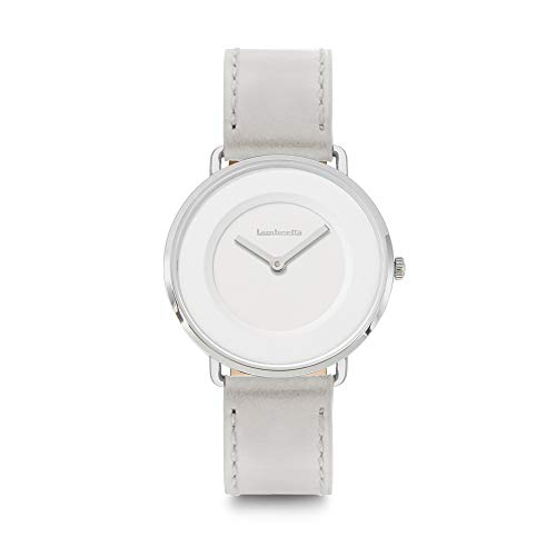 Lambretta MIA - Reloj de Cuarzo analógico de Acero Blanco y Piel Gris para Mujer