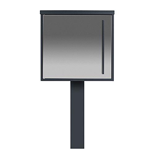 Edelstahl Standbriefkasten anthrazit-grau (RAL 7016) MOCAVI SBox 102b mit Pfosten (einbetonieren), Pfostenbriefkasten, Briefkasten freistehend