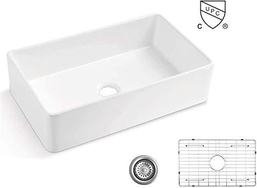 ALWEN 33 White Farmhouse Sink, Fireclay 33 Apron Front sink, Luxury Single Basin...