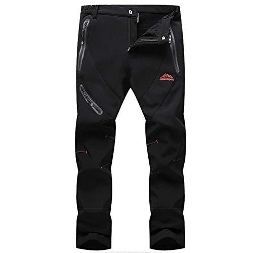 BIAOZH - Pantalones de esquí para Hombre (Forro Polar, Resistente al Viento, para Escalada, Senderismo, al Aire Libre), Hombre, Color Negro (, tamaño 27-32