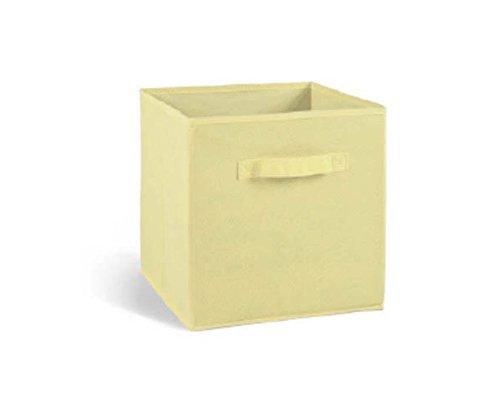 PEGANE Lot de 4 tiroirs de Rangement en Tissu Beige, 27x27x28cm