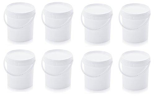 8x Eimer 1,0l mit Deckel * lebensmittelecht * 1 Liter * weiß * Kunststoffeimer * mit Kunststoffbügel 1,18l, 8er Set