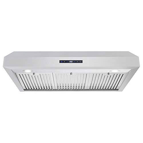Cosmo UMC36 36 in. Under Cabinet Stainless Steel Range Hood with LED Light, 380 CFM, Permanent Filter, Convertible from Ducted to Ductless (Kit Not Included)