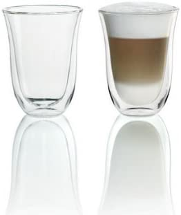 Delonghi VASOS LATTE MACCHIATO Vasos de Doble Pared Latte Macchiato, Pequeño, Cristal