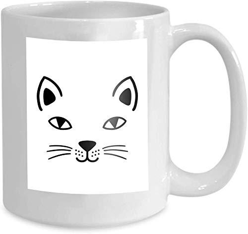 Kaffee-Haferl Tee-Obertasse Home Print Hand gezeichnete süße Katze Gesicht Skizze...