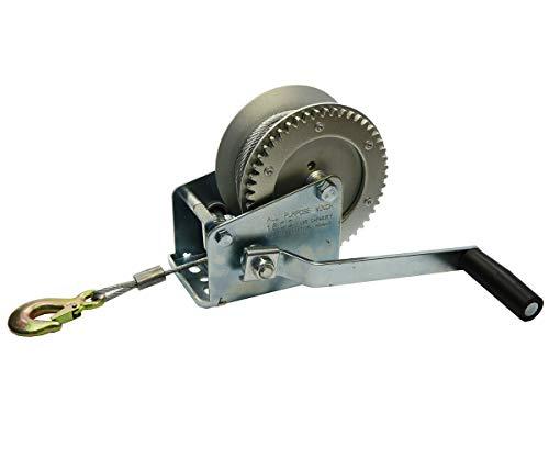 Systafex® Profi Seilwinde manuelle Handwinde Handseilwinde Drahtseil 15m Seil 725kg Bootswinde 1600lbs
