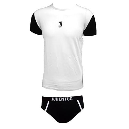 Juventus Coordinato Ragazzo Slip + t-Shirt Girocollo Cotone Elasticizzato Prodotto Ufficiale Juve Art. JU12056 (14 Anni, Bianco)