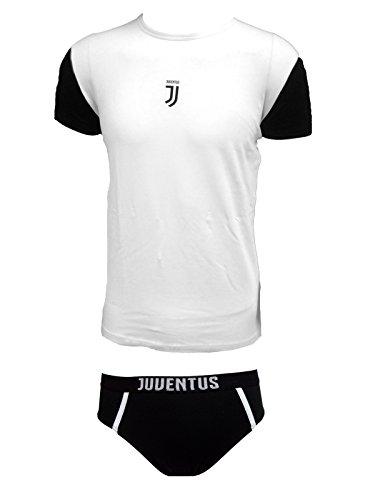 Juventus Coordinato Ragazzo Slip + t-Shirt Girocollo Cotone Elasticizzato Prodotto Ufficiale Juve Art. JU12056 (10 Anni, Bianco)