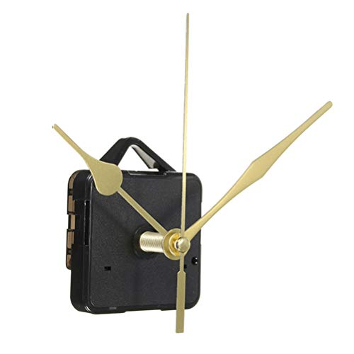 DOITOOL Stille Quarzuhr Uhrwerk Bewegung Stille Uhr Mechanismus Lange Welle Ersatzuhr Kits Wanduhr Bewegungen Mechanismus Teile mit 3 Zeigern Keine Batterie Uhrenbausätze (Gold)