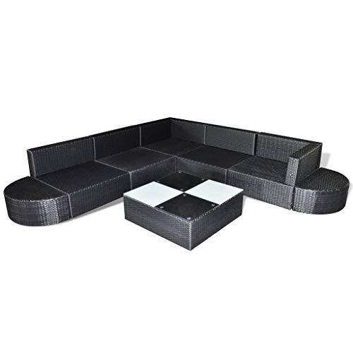 Tidyard 8-delige Loungeset Tuin Lounge Set Tuin Pallet Sofa Outdoor Dining Rotan Sofa Sets Tuinmeubilair Pallets Met Kussens Poly Rattan Zwart Type B