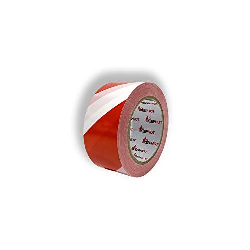 6 Articoli Nastro Segnaletico Rosso Bianco non Adesivo, per Barriera e Segnalare Zone, 48 mm x 200 m