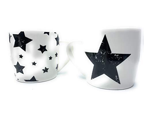 Becher Tasse Stern Sterne Star Vintage Art Weiss Schwarz